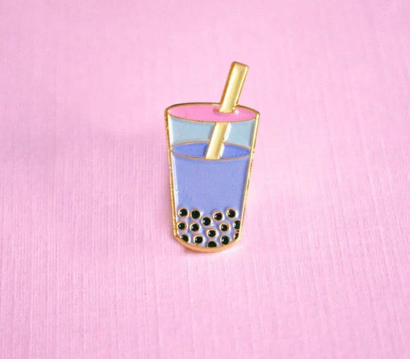 Bubble Tea Boba Enamel Pin - Purple