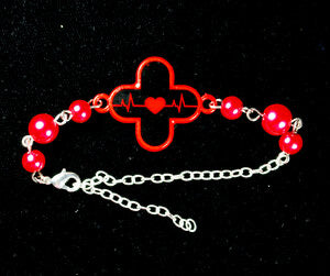 Red Alert Menhera Plus Bracelet - Red x Black
