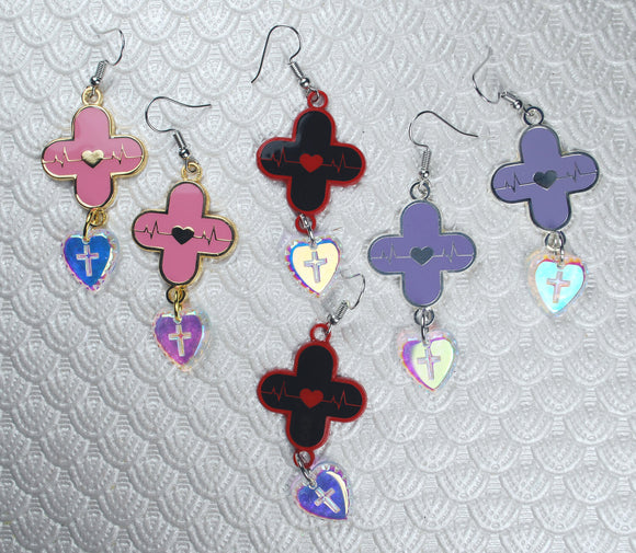 Red Alert Menhera Plus Earrings - Lavender