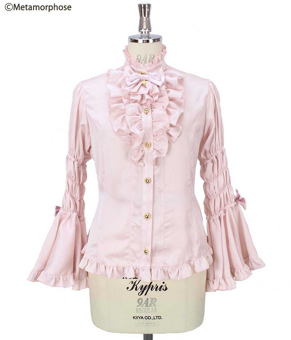 Princess Sleeve Blouse with Jabot (Crepe Weave) - Pink