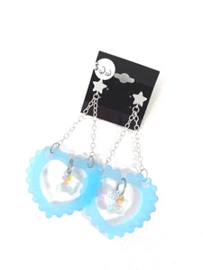 Pop Star Earrings - Transparent Blue