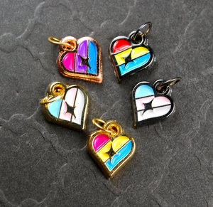 Pride Heart Earrings - Asexual