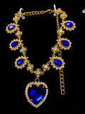 Crystal Heart Necklace - Gold x D. Blue