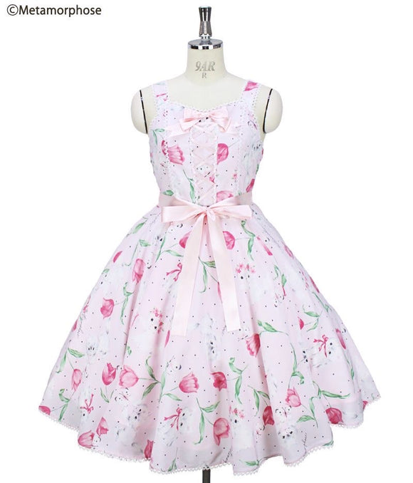 Kitten and Tulip Circular Dress - Pink