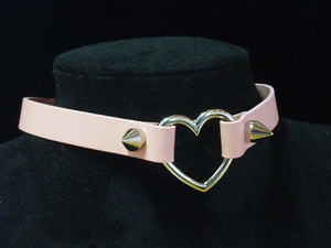 Pink Leather Heart Choker