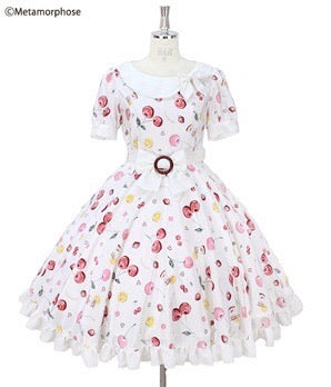 Floating Heart Cherry Short Sleeve Dress - Ivory