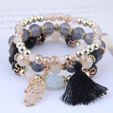 Load image into Gallery viewer, Tassel & Palms layer bracelets