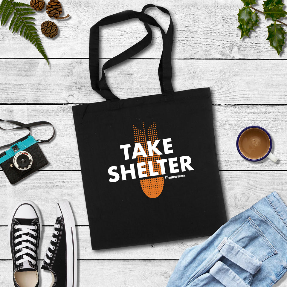 Take shelter, black totebag