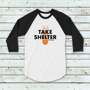 Take Shleter, white baseball shirt with black sleeves