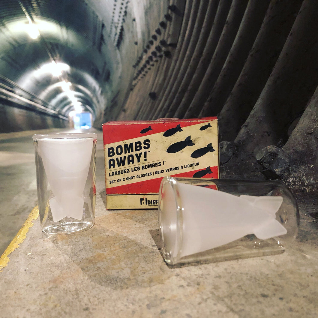 Bombs away shot glasses on display in blast tunnel