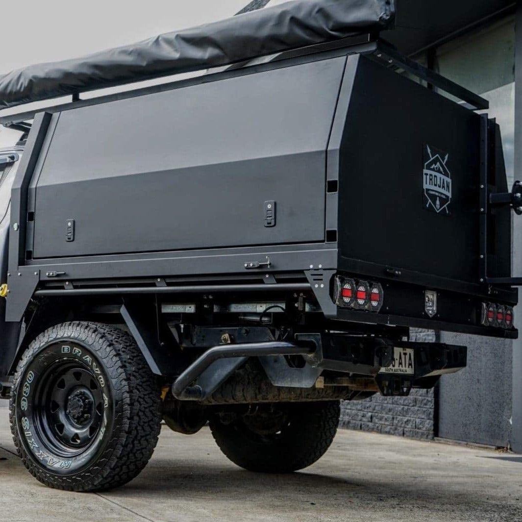 Dual Cab Flat Tray Lift-off Canopy Black