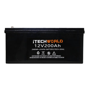 iTECH200 12v 200Ah Lithium Ion Battery - LiFePO4 Deep Cycle Camping RV Solar