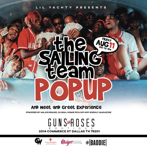 Lil yachty brings the sailing team to dallas guns and roses boutique lil yachty pop up experience at guns and roses boutique m4hsunfo