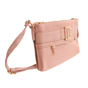 Mauve Leather Buckle Crossbody