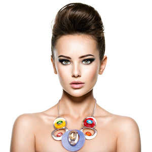 Multi Color Circular Necklace Set