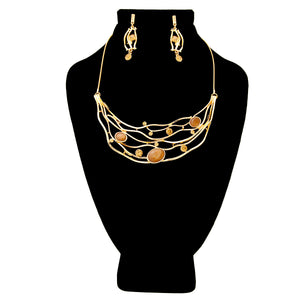 Gold Bib Necklace Set Featuring Brown Crystal and Topaz Rhinestone Detail
