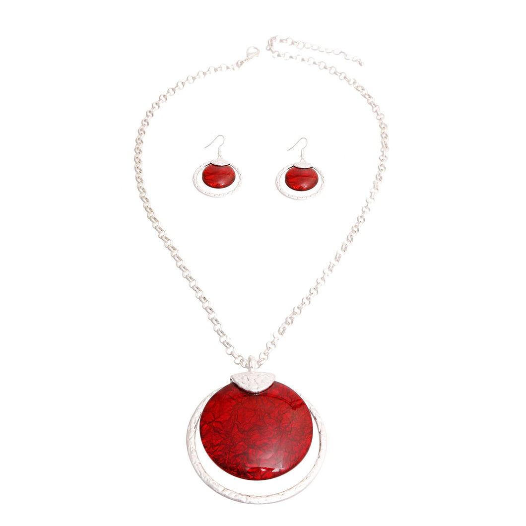 Matte Silver and Round Red Pendant Set