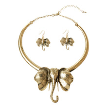 Load image into Gallery viewer, Burnished Metal Elephant Necklace Set