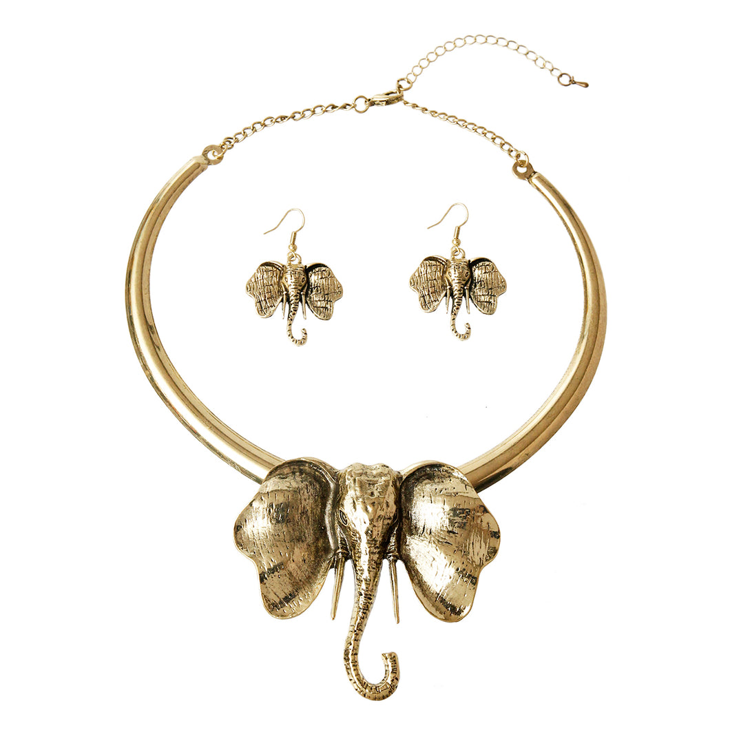 Burnished Metal Elephant Necklace Set