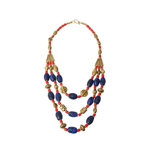 Blue Bead Tribal Necklace