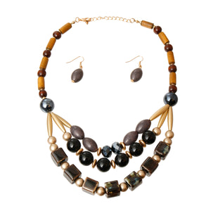 Black Ceramic Bead Necklace Set