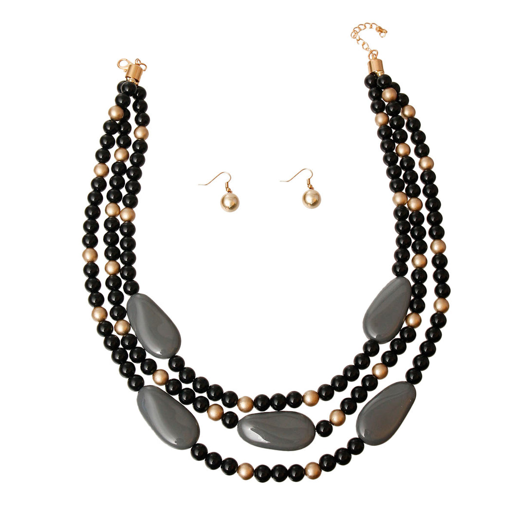 Black and Gold Pearl Bead Set