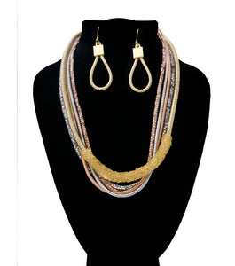 Metallic Cord Necklace Set