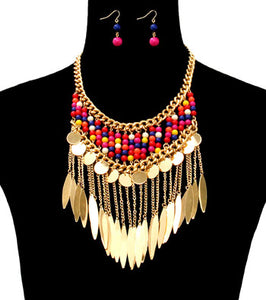 Beads and Metal Necklace Set