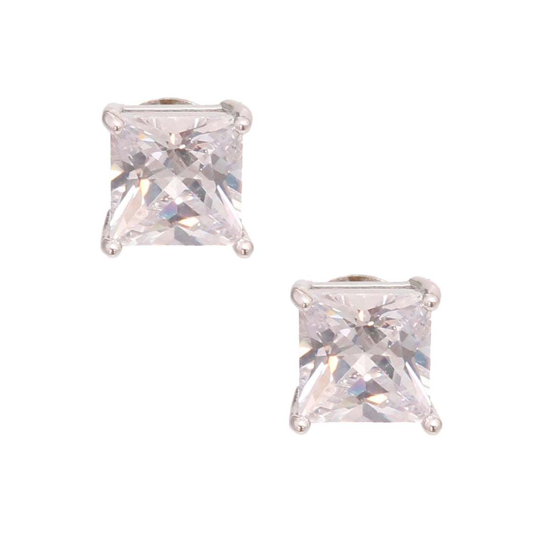 8mm Silver Cubic Zirconia Studs