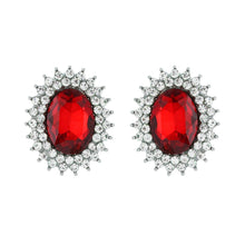 Load image into Gallery viewer, Oval Red Crystal Studs