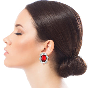 Oval Red Crystal Studs