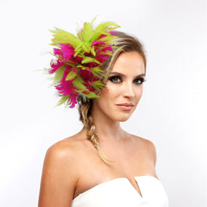 Pink and Green Feather Fascinator