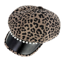 Load image into Gallery viewer, Thick Brown Leopard Newsboy Cap