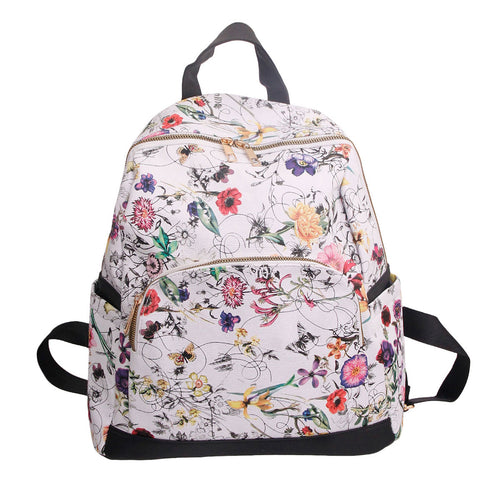 White Leather Floral Backpack