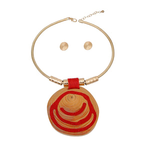 Gold and Red Swirl Circle Pendant Set