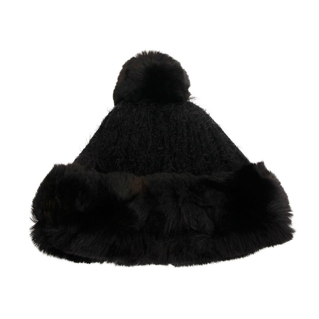 Black Knit Fur Pom Pom Hat