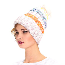 Load image into Gallery viewer, Light Brown Stripe Knit Fleece Lined Hat