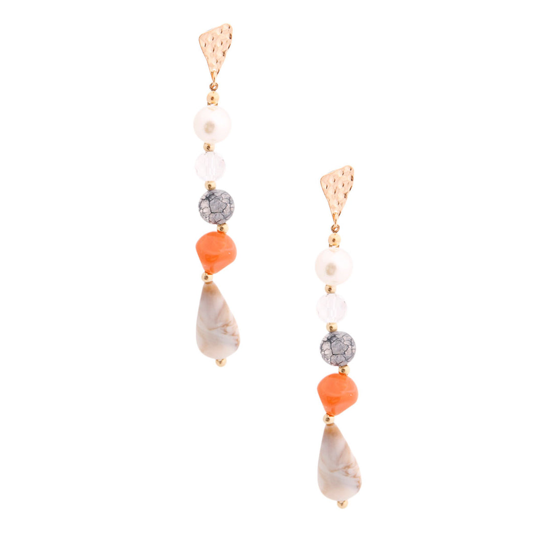 Marble Ball Bead and Pearl Earrings