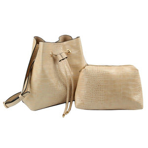 Light Brown Crocodile Cinch Sack Bag Set