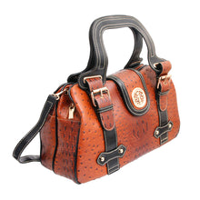 Load image into Gallery viewer, Brown Ostrich Buckle Satchel Bag