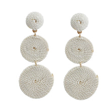 Load image into Gallery viewer, Ivory Swirled Thread Circle Drop Earrings