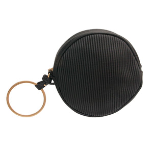 Black Ribbed Circle Crossbody Wristlet