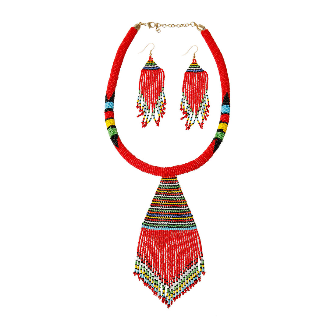 Red Bead Tassel Necklace Set