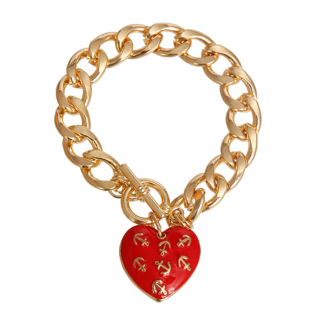 Red Anchor Heart Toggle Bracelet
