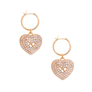 Gold Concentric Heart Hoops