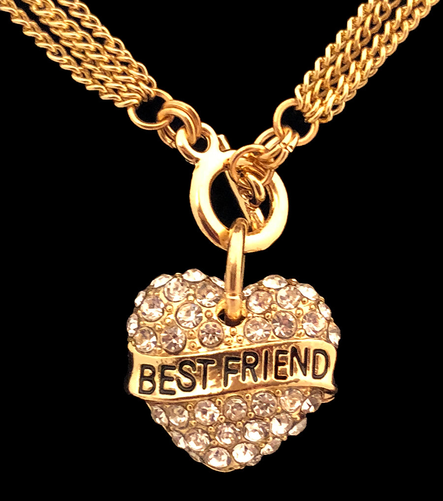 Best Friend Rhinestone Heart Toggle Necklace