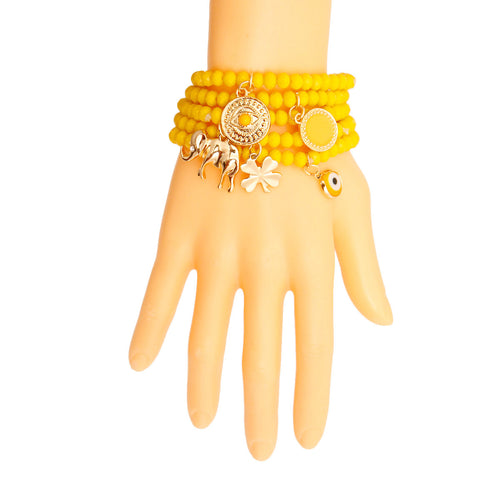 Yellow Luck Bracelet with Elephant Charm
