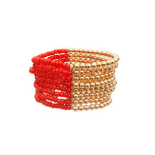 Load image into Gallery viewer, Red and Gold Seed Bead Bracelet