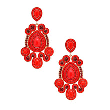 Cargar imagen en el visor de la galería, Gold and Red Soutache Earrings
