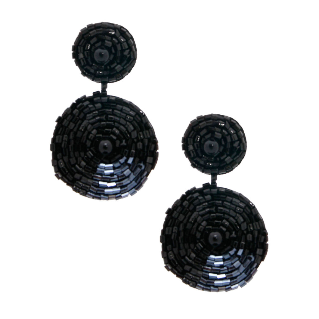 Black Embroidered Bead Earrings